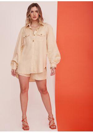 Camisa-Simple-Line-Bege-Frente-